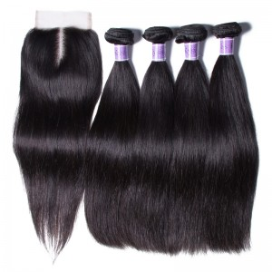 UNice Hair Kysiss Series 4 Bundles Best Brazilian Straight Virgin Hair With Closure