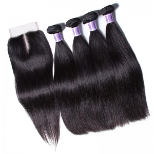UNice Hair Kysiss Series 4 Bundles Unprocessed Virgin Peruvian Straight Hair With Closure