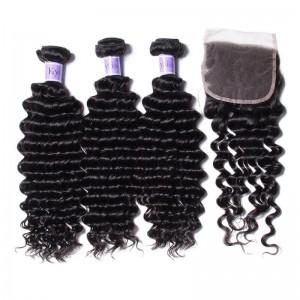 UNice Hair Kysiss Series Best Brazilian 3 Bundles Deep Wave With Lace Closure
