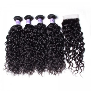 UNice Hair Kysiss Series 8A Grade Peruvian Water Wave 4 Bundles Products With Lace Closure