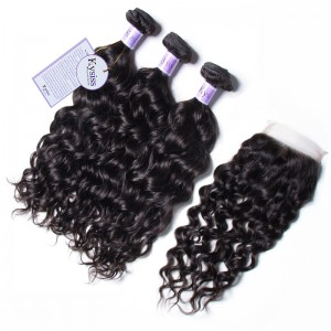 UNice Hair Kysiss Series Cheap Malaysian 3Pcs Natural Wave Hair With Lace Closure
