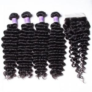 UNice Hair Kysiss Series Good 4 Bundles Malaysian Deep Wave Hair With Closure