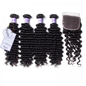 UNice Hair Kysiss Series Indian Cheap Human Hair 4 Bundles Deep Wave With Closure