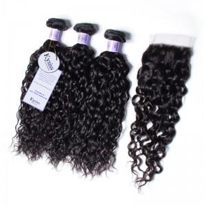 UNice Hair Kysiss Series Indian Water Wave 100% Virgin Human Hair 3 Bundles With 4x4 Lace Closure