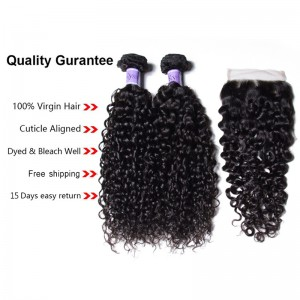 UNice Hair Kysiss Series Malaysian 3 Bundles Virgin Jerry Curly Hair with Lace closure
