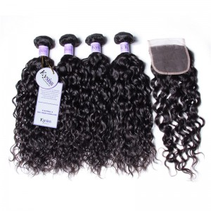 UNice Hair Kysiss Series Malaysian Water Wave Product Cheap Human Hair 4 Bundles With Closure