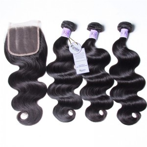 UNice Hair Kysiss Series Quality 3pcs 8A Grade Brazilian Body Wave Hair With Lace Closure