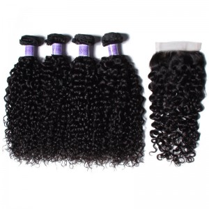 UNice Hair Kysiss Series Virgin Human Hair Malaysian Curly Wave 4 Bundles With Closure