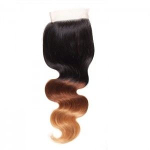 "UNice Hair Icenu Series Hair Body Wave Lace Closure Size 4""x4"" Free Part Ombre Color Virgin Hair"