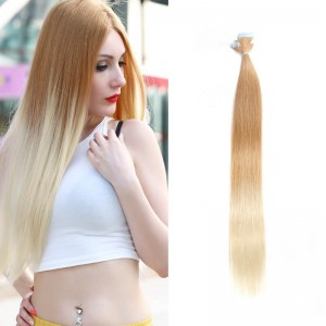 UNice 20pcs 50g Ombre Straight Tape In Hair Extensions T27-613 100% Virgin Hair