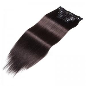 ... UNice 115g  1B Natural Black Clip In Human Hair Extensions Virgin Hair  8Pcs set e7e5b3c3ae04