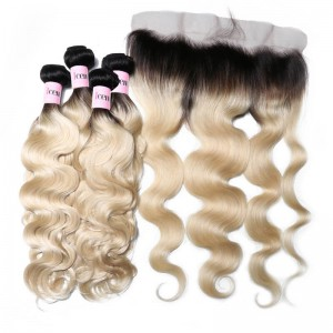 UNice 4 Bundles T1b/613 Ombre Body Wave Blonde Hair With 13x4 Lace Frontal Closure