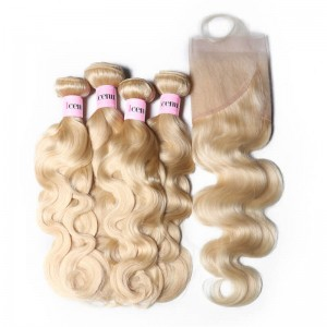 UNice Hair 100% Virgin Hair 4 Bundles 613 Blonde Body Wave Hair With Lace Frontal