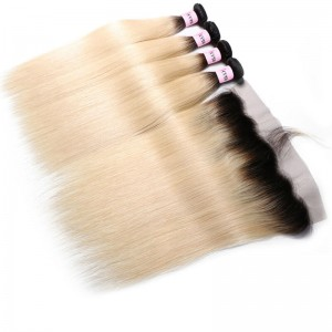 UNice Hair 1B/613 Dark Root Blonde Virgin Hair 4Pcs Straight Virgin Human Hair With Lace Frontal Closure