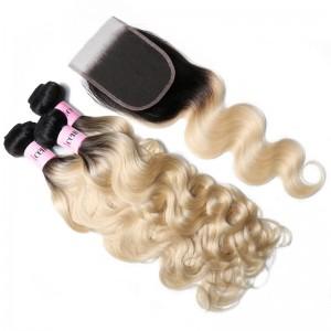 UNice Hair 1B/613 Ombre Color Body Wave Hair 3 Bundles Deals With 4x4 Lace Closure
