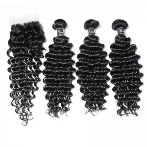 UNice Hair Banicoo Series 10A Raw Virgin Top Quality Hair 3 Bundles Deep Wave With Closure