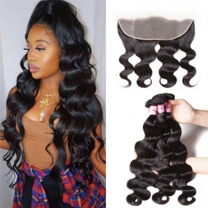 UNice Hair Icenu Series 3 Bundles Body Wave Hair With 13*4 Transparent Lace Frontal