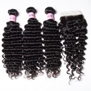 UNice Hair Icenu Series 3PCS Deep Wave Bundles Virgin Human Hair With 1PC 4*4 inch Lace Closure
