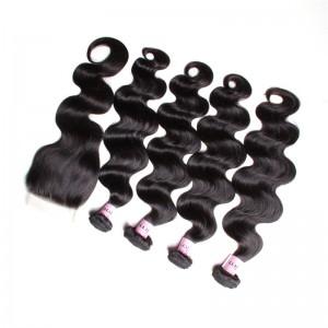 UNice Hair Icenu Series 4 Pcs Virgin Hair Body Wave Hair Weave Bundles With 4*4 Free Part Transparent Lace Closure