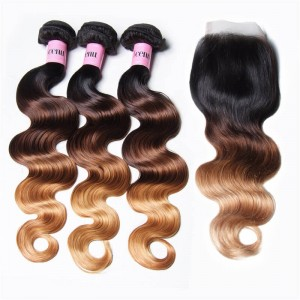 UNice Hair Icenu Series Hair T1B/4/27 Ombre 3 Bundles Body Wave With Closure 100% Virgin Human Hair