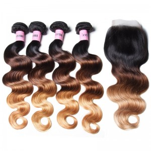 UNice Hair Icenu Series Hair T1B/4/27 Ombre 4 Bundles Body Wave With Free Part Closure Virgin Human Hair Weave