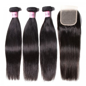 UNice Hair Icenu Series High Quality 44 Transparent Lace Closure With Straight Hair 3 Bundles