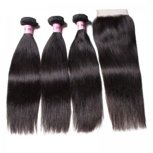 UNice Hair Icenu Series High Quality 4*4 Transparent Lace Closure With Straight Hair 3 Bundles