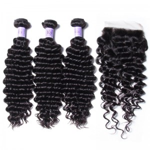 UNice Hair Kysiss Series 100% Peruvian Deep Wave 3pcs Virgin Hair Extension With Closure
