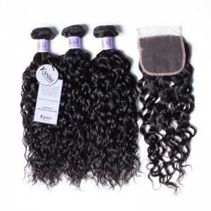 UNice Hair Kysiss Series 3 Bundles Brazilian Water Wave Virgin Human Hair With Lace Closure