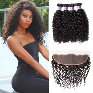 UNice Hair Kysiss Series 4pcs Jerry Curly Human Hair With Lace Frontal Closure