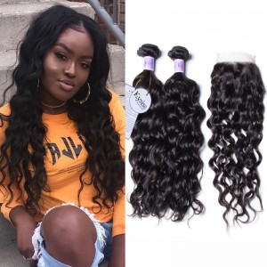 UNice Hair Kysiss Series Brazilian Natural Wave 3 Bundles With Lace Closure