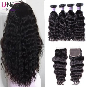 UNice Hair Kysiss Series Good Natural weave 4 Bundles Virgin Hair With Closure
