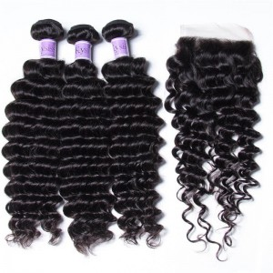 UNice Hair Kysiss Series Indian Huamn Hair Deep Wave 3 Bundles With Closure