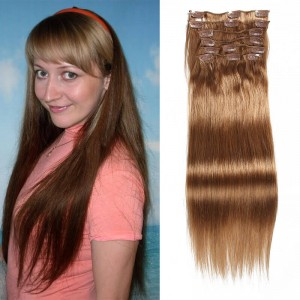 UNice 115g #12 Light Brown Virgin Hair Extensions Clip In Hair 8Pcs/set