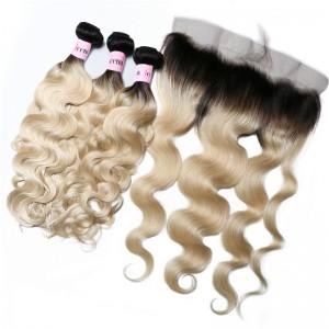 UNice Virgin Hair Ombre Color 1B/613 Body Wave Bundles Deals 3 PCS With 13x4 Lace Frontal Closure