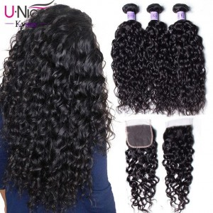 Indian Water Wave 100% Virgin Human Hair 3 Bundles With 4x4 Lace Closure