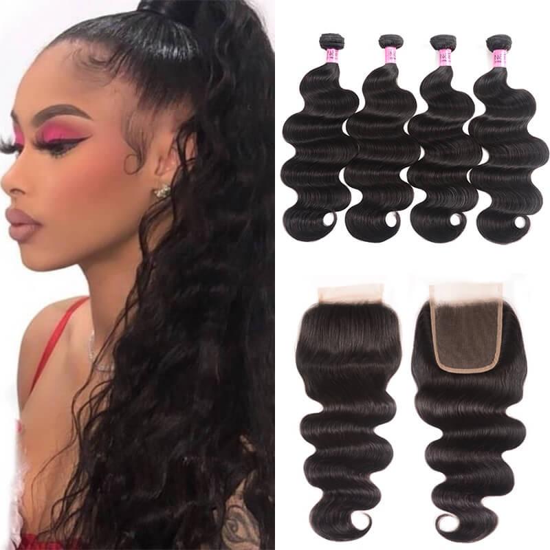 UNice Hair Icenu Series 4pcs Brazilian Virgin Hair Body Wave Hair Bundles With Lace Closure