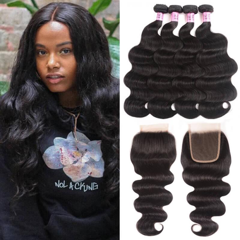 UNice Body Wave Lace Closure With 4pcs Remy Hair Bundles