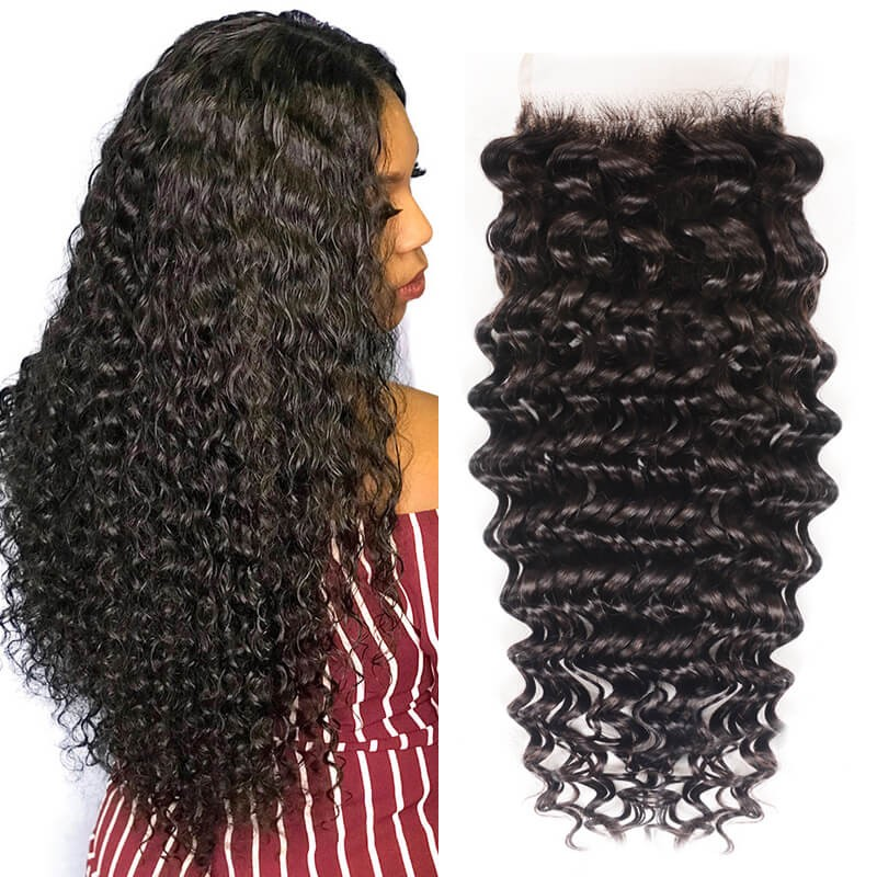 Virgin Hair Closure Free Part Deep Wave Lace Closure
