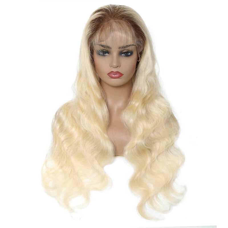 Full Lace Wigs Human Hair T4 613 Ombre Blonde Body Wave 1