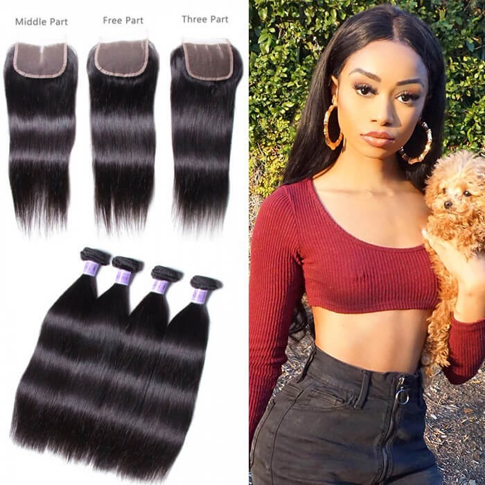 UNice Hair Kysiss Series 4 Bundles Brazilian Straight Virgin Hair With Closure