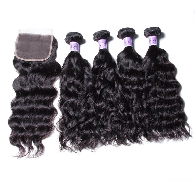 UNice Hair Kysiss Serie Brazilian 4pcs Natural Wave Virgin Hair With Closure