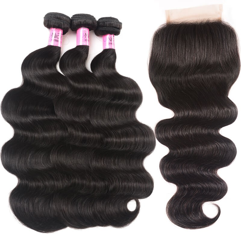 UNice Hair Peruvian Body Wave Lace Closure With 3pcs Human Hair Weave Icenu Series