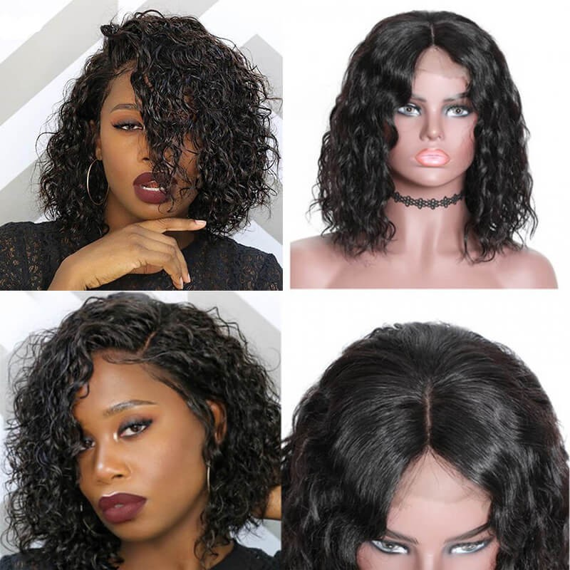UNice Hair Bettyou Wig Series Water Wave 100% Human Hair Wig Short Bobo Lace Frontal Wig