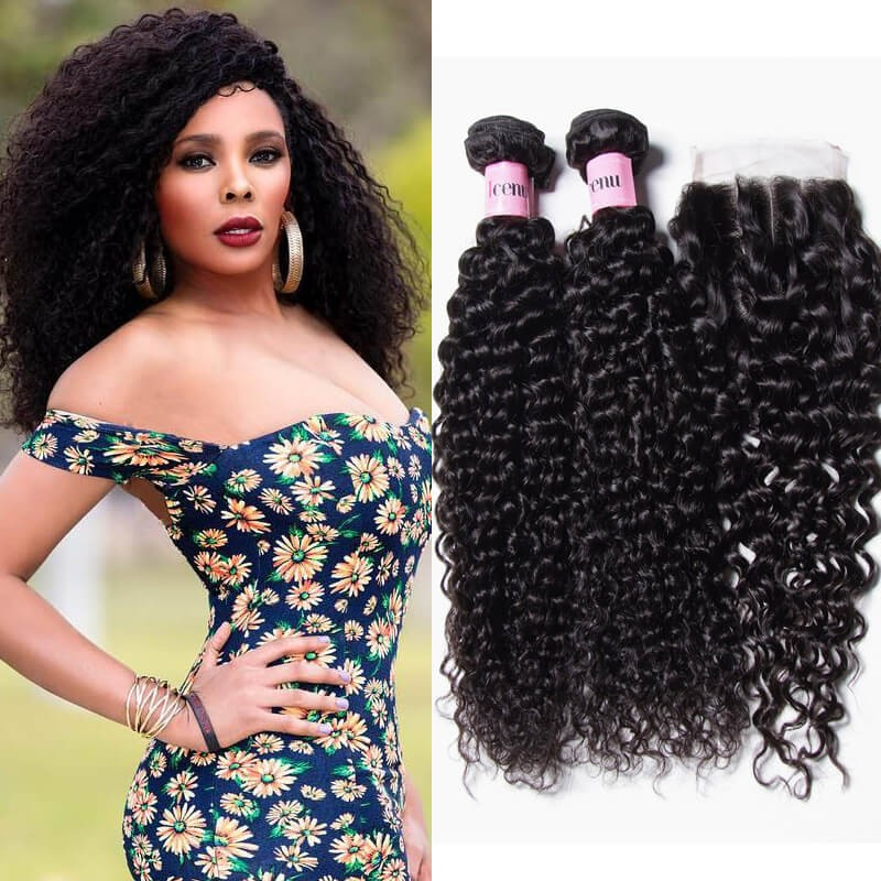 UNice Hair Icenu Series 4 Bundles Peruvian Jerry Curly Hair Extensions With Closure