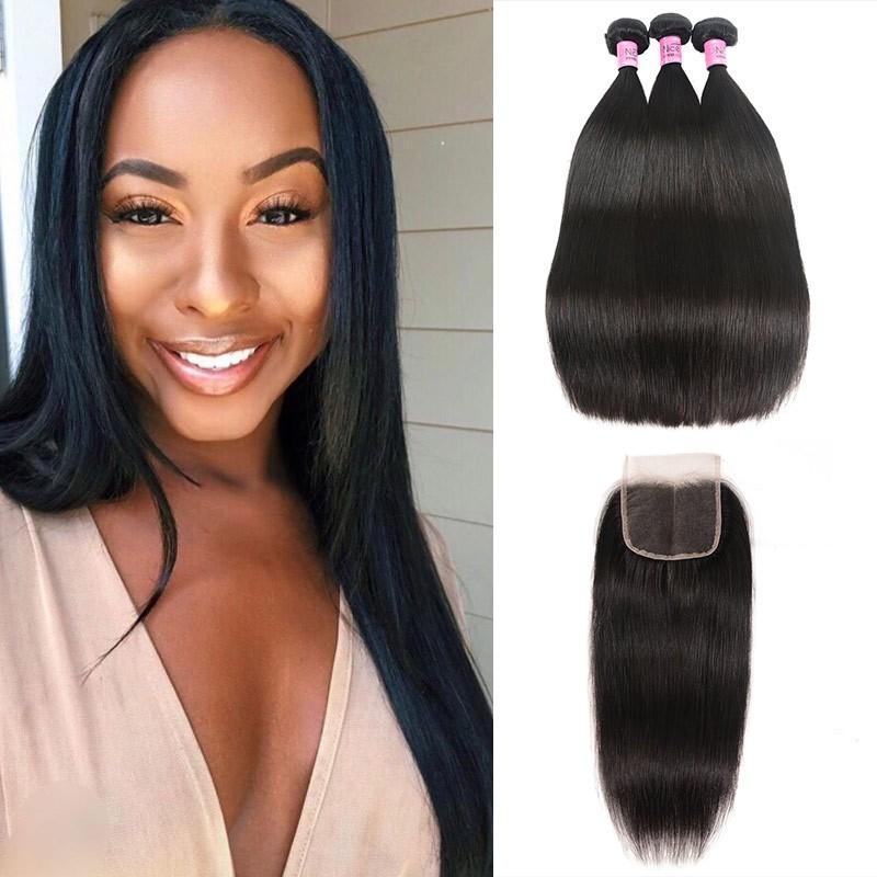 UNice Hair Icenu Series Malaysian Straight Virgin Hair With 3 Part Lace Closure