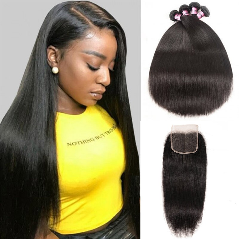 Best 4 Bundles Straight Virgin Hair With Lace