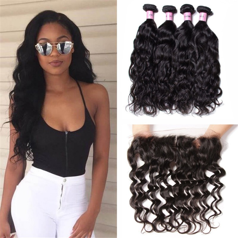UNice Hair Icenu Series 4pcs Human Natural Wave Hair With Lace Frontal Hair