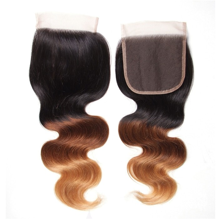 "UNice Hair Body Wave Lace Closure Size 4""x4"" Free Part Ombre Color"