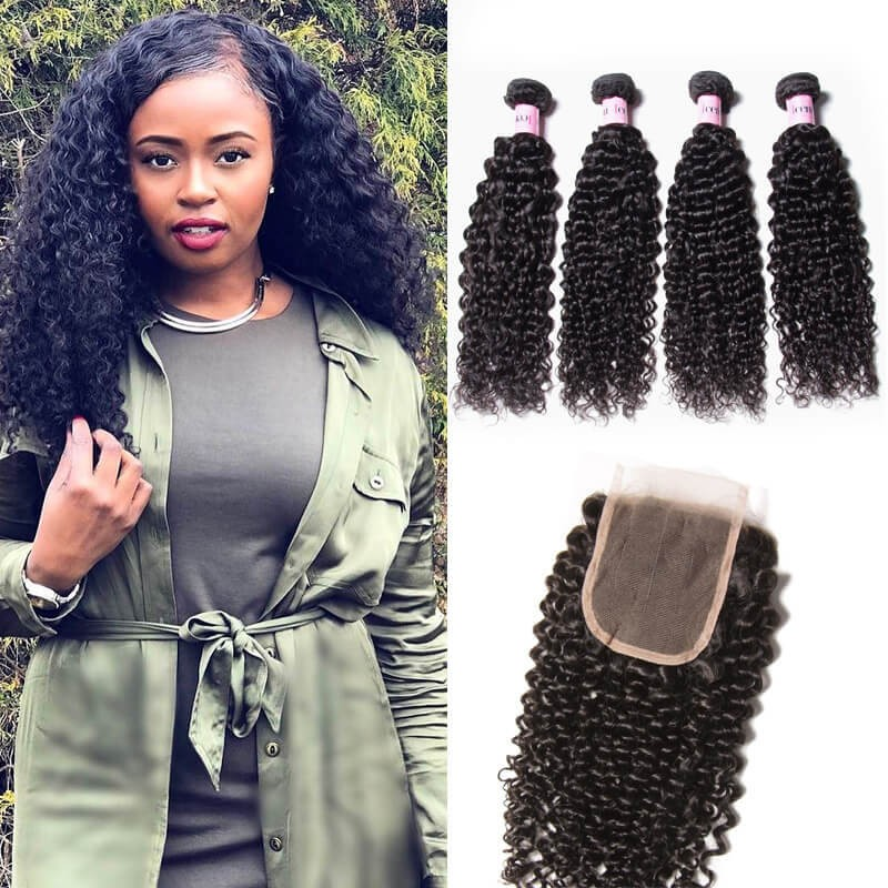 UNice 4 Bundles Brazilian Virgin Jerry Curly Hair With Lace Closure
